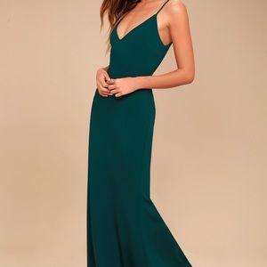 Lulu's Green Maxi Mermaid Dress